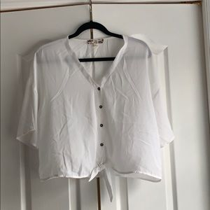 Loose fit white tie bottom blouse